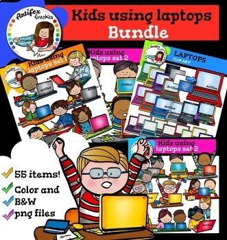 Kids using laptops Bundle