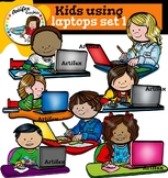 Kids using laptops set 1