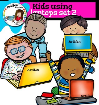 Kids using laptops set 2
