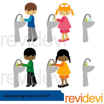 Kids washing hands clip art