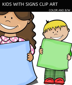 Kids with signs clip art - Color and black/white