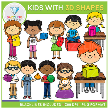 Kids with 3D Shapes Clip Art