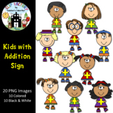 Kids with Addition Sign Clip Art