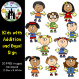 Kids with Addition and Equal Sign Clip Art