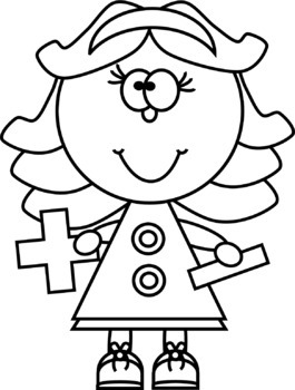 Kids with Addition and Subtraction Signs Clip Art