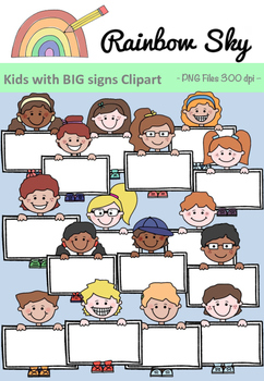 Kids with BIG signs Clipart