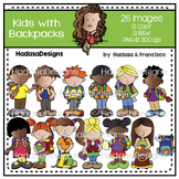 Kids with Backpacks Clip Art Set