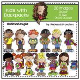 Kids with Backpacks Clip Art Set