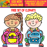 Kids with Backpacks - Free clipart Set
