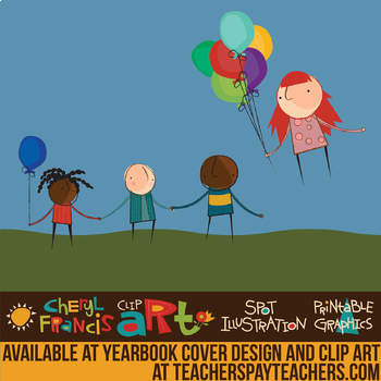 Kids with Balloons Clip Art