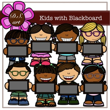 Kids with Blackboard Digital Clipart (color and black&white)