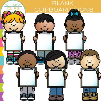 Kids with Blank Signs Clipboard Clip Art