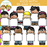 Kids with Blank Signs Clip Art