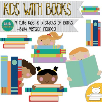 Kids with Books Clipart
