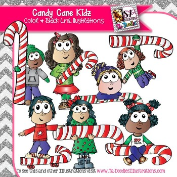 Kids with Candy Canes Clip Art