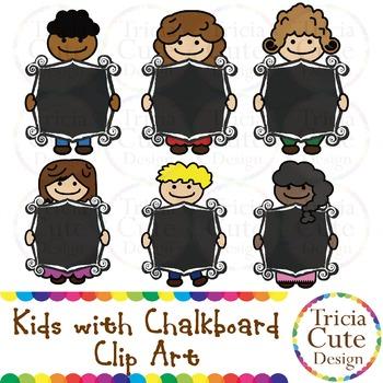 Kids with Chalkboard Clip Art