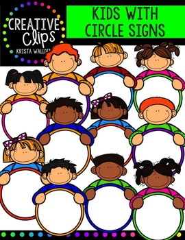 Kids with Circle Signs {Creative Clips Digital Clipart}