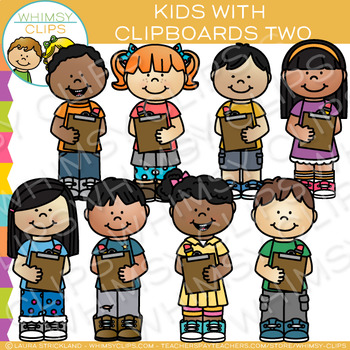 Kids with Clipboards Two: Writing Clip Art