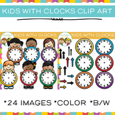 Kids with Clocks Clip Art