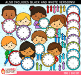Kids with Clocks Clip Art
