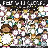 Kids with Clocks Clipart {school kids clipart}