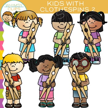 Kids with Clothespins Clip Art - Set Two