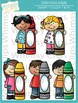Kids with Crayons Clip Art
