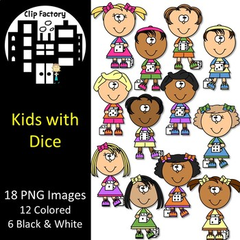 Kids with Dice Clip Art
