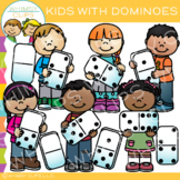 Kids with Dominoes: Math Clip Art