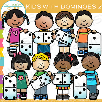 Kids with Dominoes Clip Art - Set Two