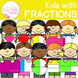 Kids with Fractions Clip Art (Halves, Thirds, and Quarters)