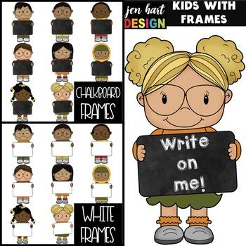 Kids with Frames Clip Art