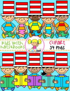 Kids with Hats & Books Clipart