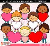 Kids with Hearts Valentines Day Clipart