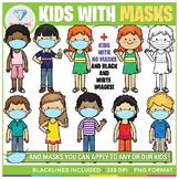 Kids with Masks Clip Art