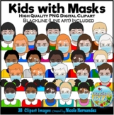 Diverse Kids with Masks Clip Art for Personal and Commercial Use