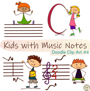 Kids with Music Notes and Symbols Doodle Clipart#4