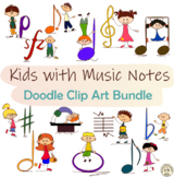 Kids with Music Notes and Symbols Doodle Clipart Bundle