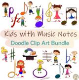 Kids with Music Notes Doodle Clip Art Bundle