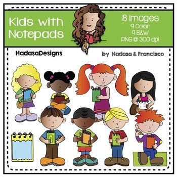 Kids with Notepads Clip Art Set