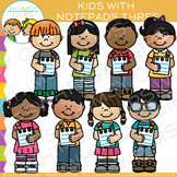 Kids with Notepads Three: Writing Clip Art