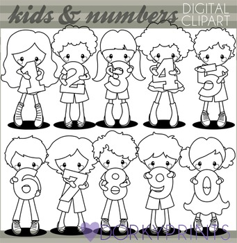 Kids with Numbers Blackline Clipart
