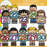 Kids with Numbers Clip Art: 21-30