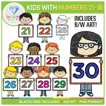 Kids with Numbers Clip Art (21 to 30)