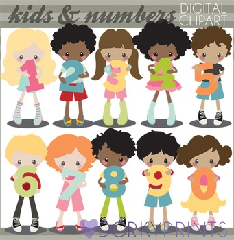 Kids with Numbers Clipart