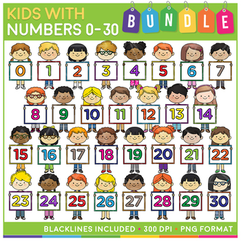 Kids with Numbers Clip Art MEGA Bundle (0 to 30) - Save 20%!