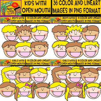 Kids with Open Mouth - Clipart set - blond and dark kids - 36 Items