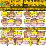 Kids with Open Mouth - Clipart set - blond and dark kids -