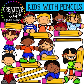 Kids with Pencil Props {Creative Clips Digital Clipart}