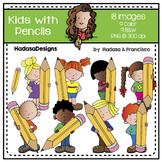 Kids with Pencils Clip Art Set